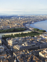 Aerial view Bordeaux and the Garonne river