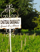 Chateau Dassault vineyard and sign
