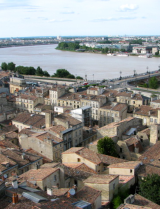 Aerial view of Bordeaux from St Michel cathedral